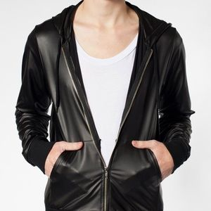 American Apparel Tops - American Apparel faux leather zip up hoodie XXS